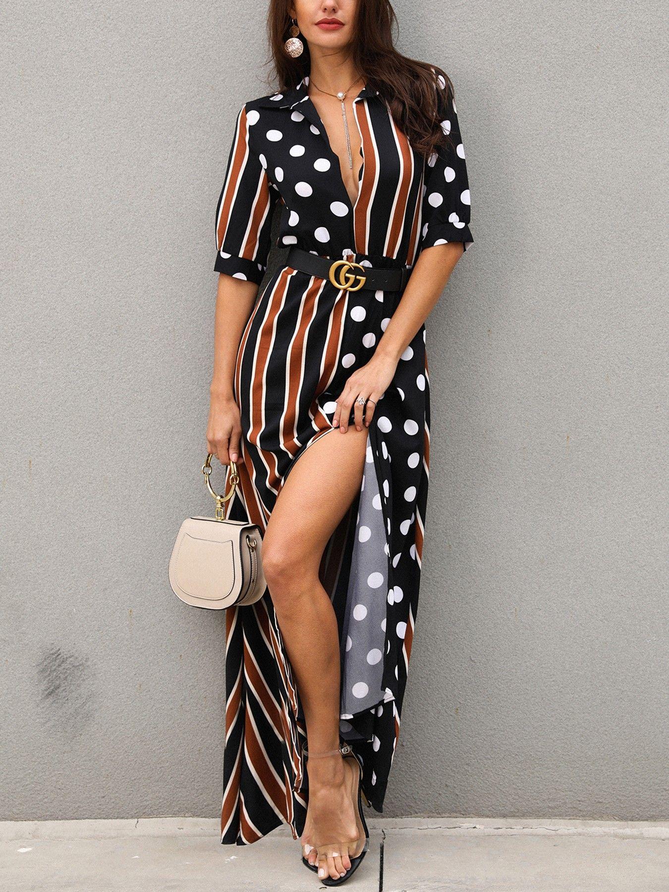 b24aa8185b1 Dots   Stripes Patchwork Plunge Slit Maxi Dress (S M L XL)  30.99 ...