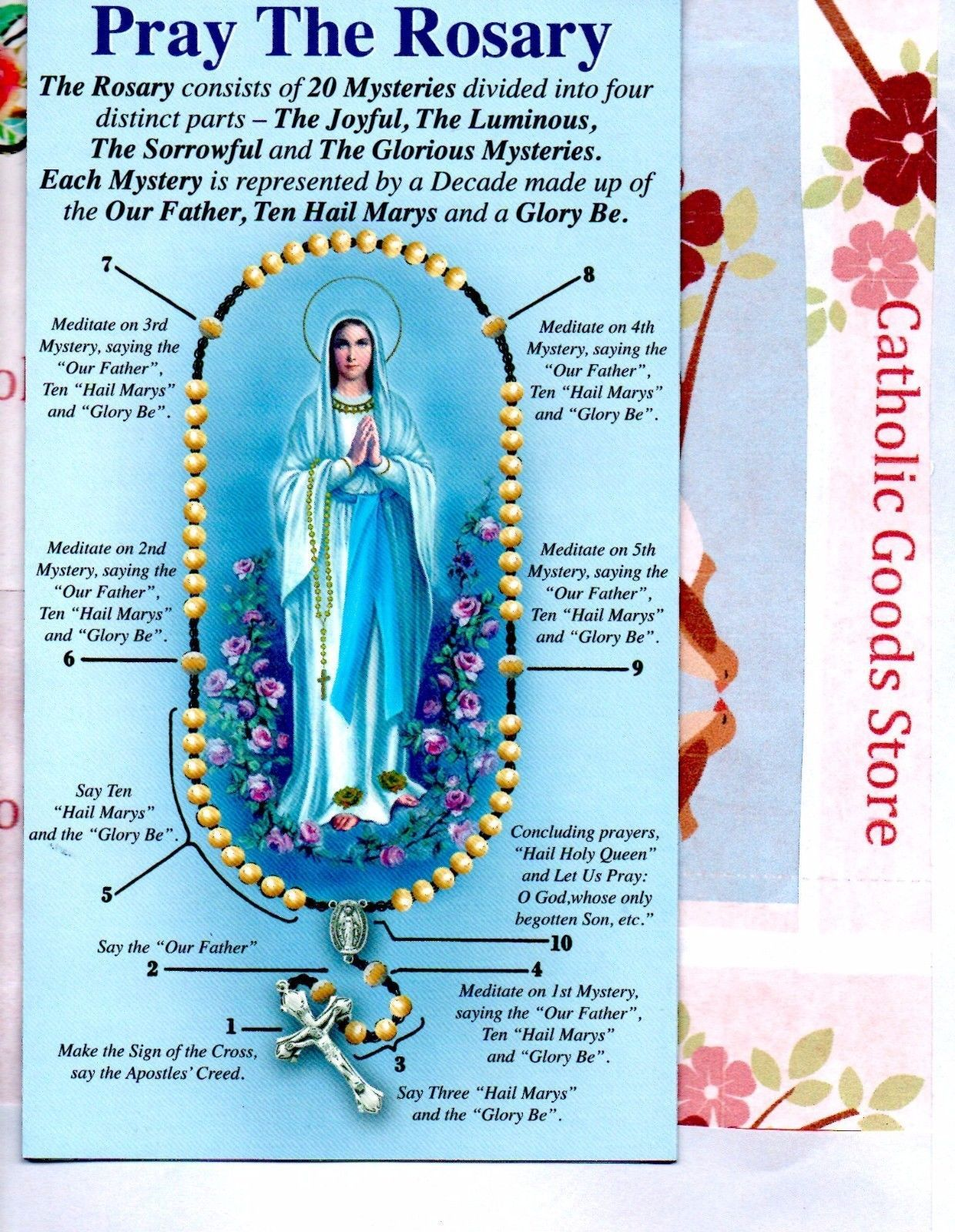 photo about How to Pray the Rosary Printable Booklet titled Pray the Rosary Pamphlet Involves All 4 Mysteries - English