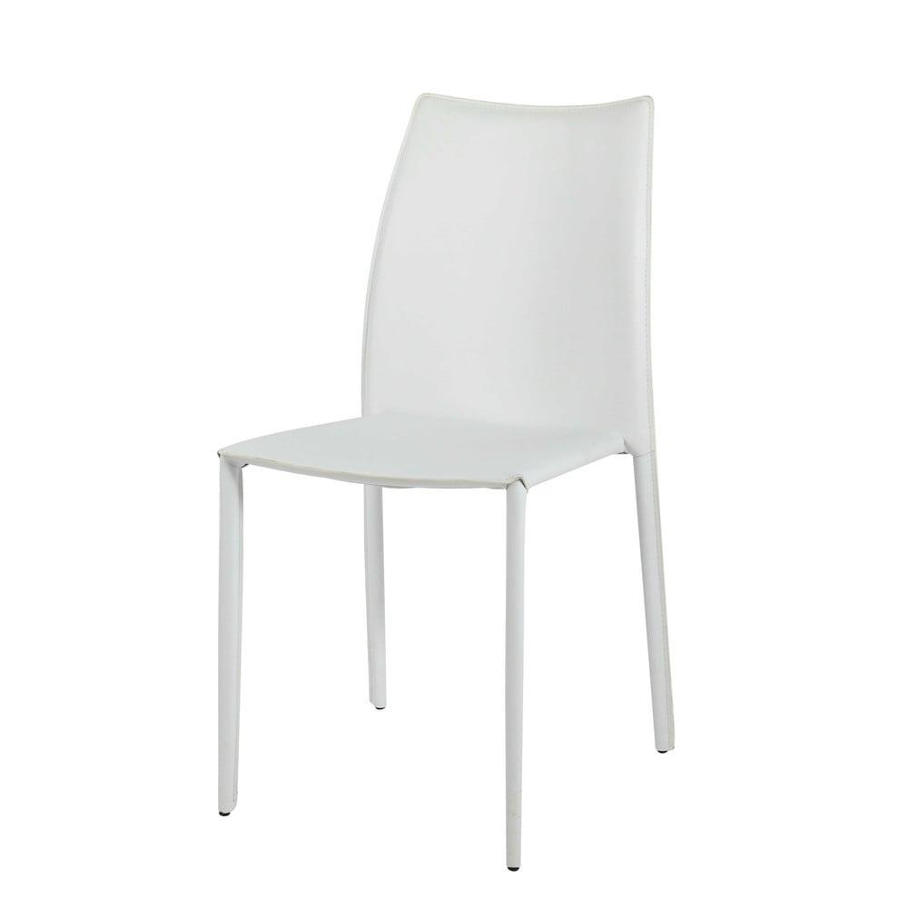 Sedia bianca in cuoio rigenerato | Sedute | Sedie bianche ...
