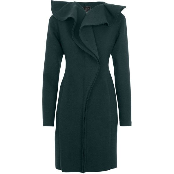Lanvin Ruffled Stretch Wool Felt Coat (17.630 RON) ❤ liked on Polyvore featuring outerwear, coats, jackets, dresses, coats & jackets, green, ruffle coat, lanvin coat, felt coat and lanvin