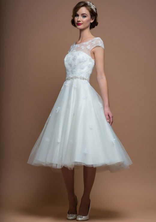 8a13b81c500e Alice Tea length vintage inspired applique wedding dress trimmed with a  diamonte belt.