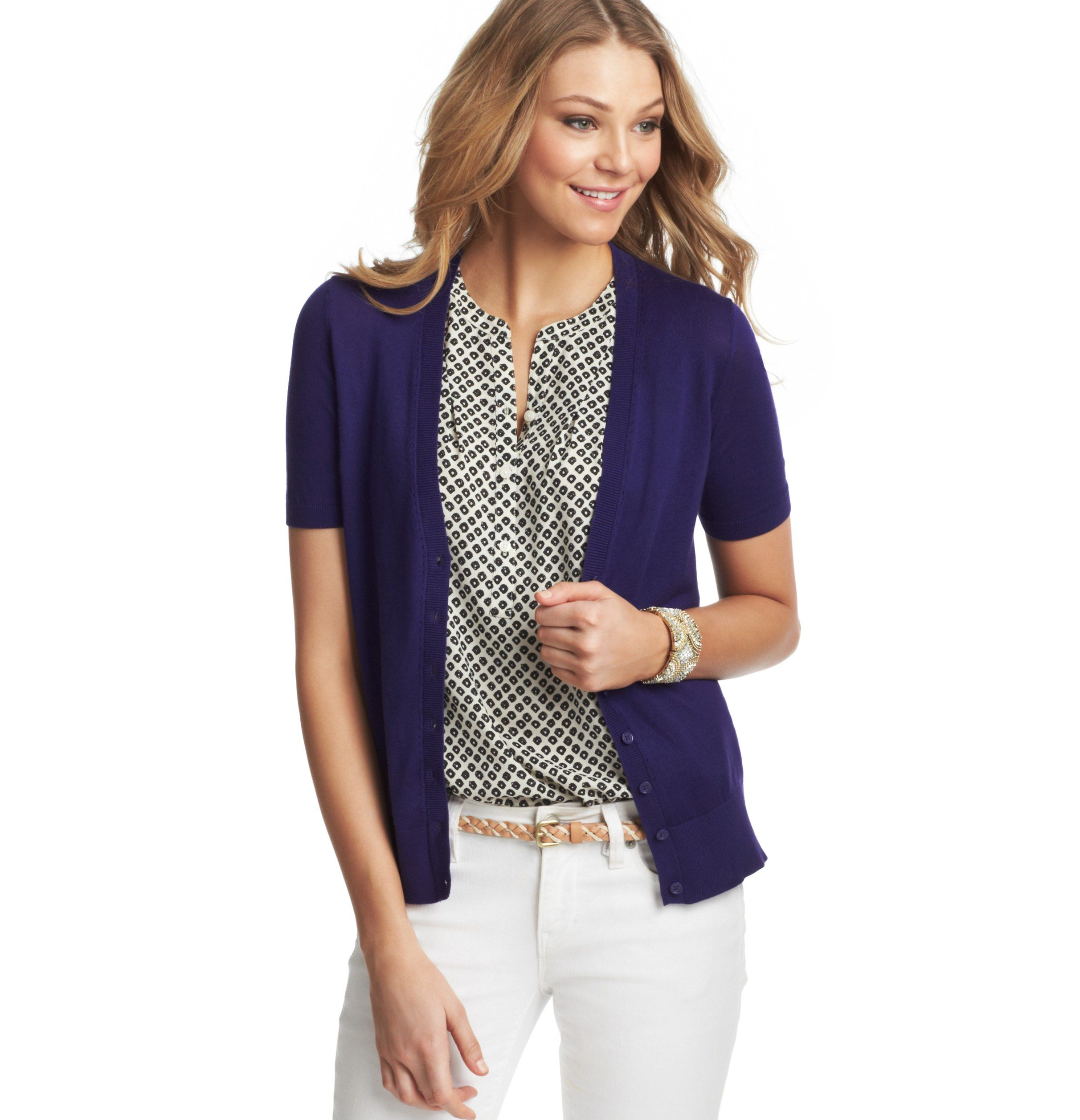 Pointelle Short Sleeve Cotton Cardigan