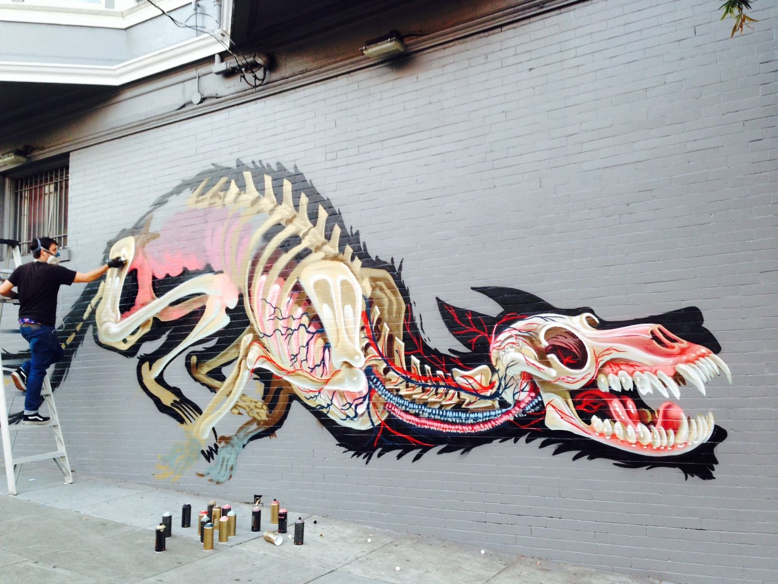nychos new san francisco mural in progress today part 2 nychos new san francisco mural in progress today part 2