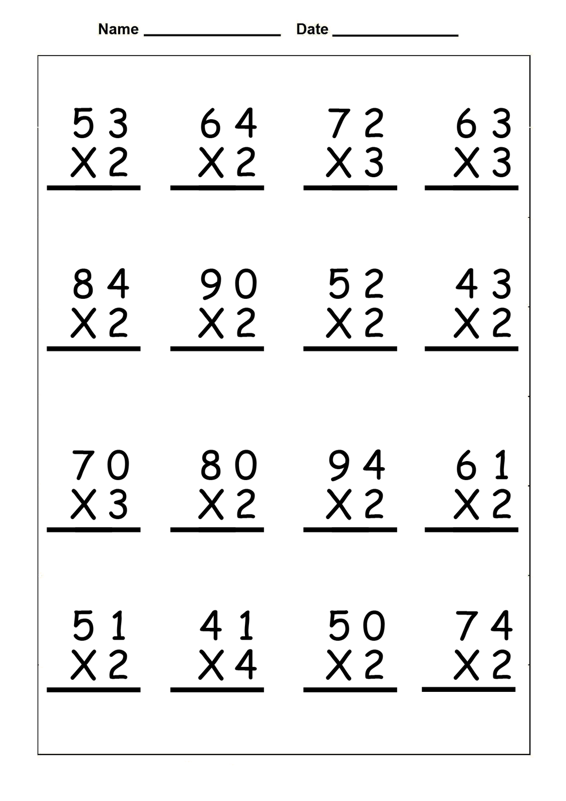 4th Grade Multiplication Worksheets - Best Coloring Pages For Kids   Math  fact worksheets [ 1600 x 1130 Pixel ]