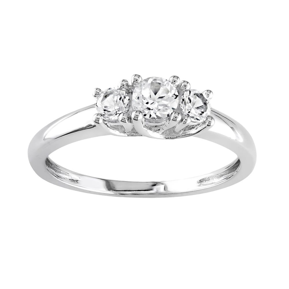 10k White Gold Lab Created White Sapphire 3 Stone Ring Women S Size 6 Stone Rings White Gold 3 Stone Rings