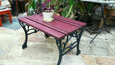 Upcycled Garden Patio Table Bench Seat Cast Iron Ends Wood Top