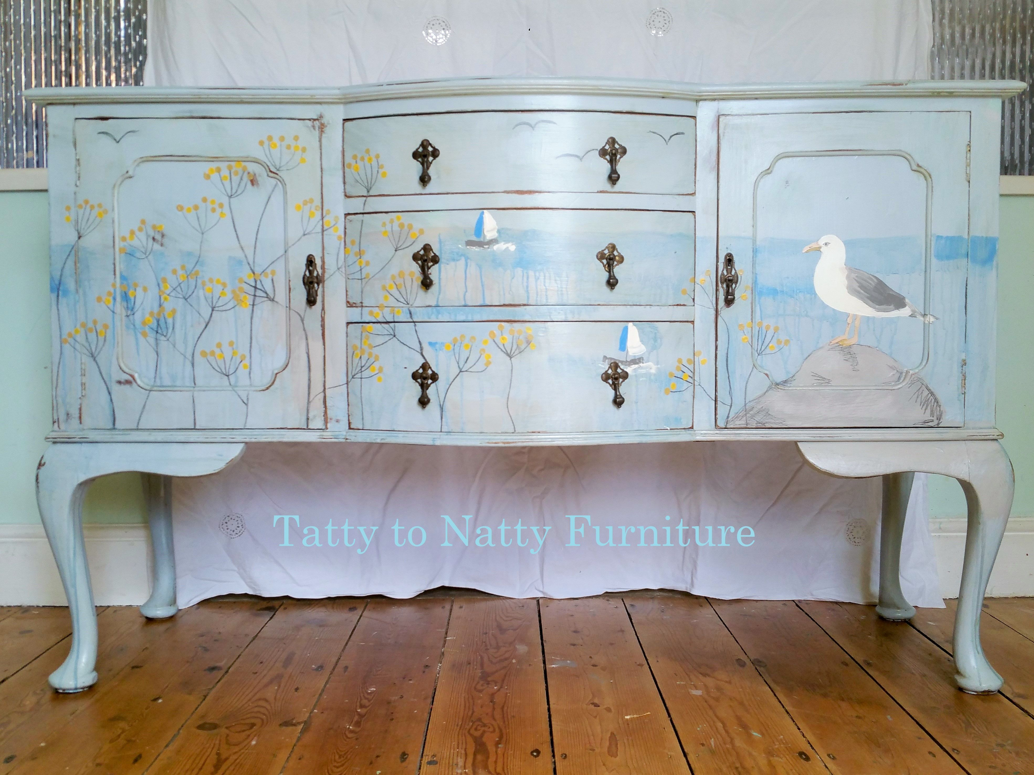 Yellow shabby chic furniture - Vintage Sideboard Hand Painted With A Nautical Scene In Blue Yellow