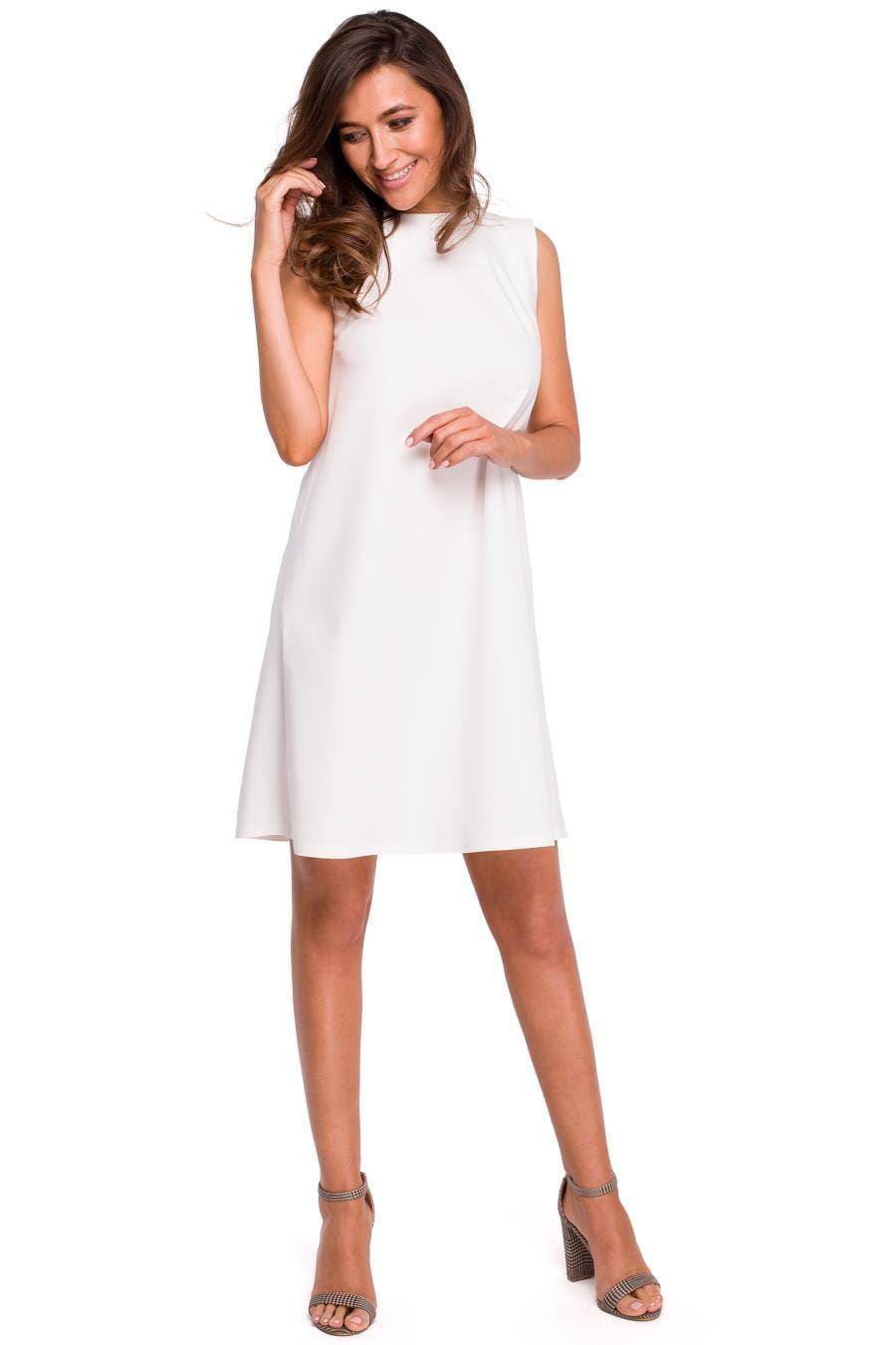 Trapezowa Sukienka Z Oryginalnym Tylem Ecru St157 Clothes Dresses White Dress
