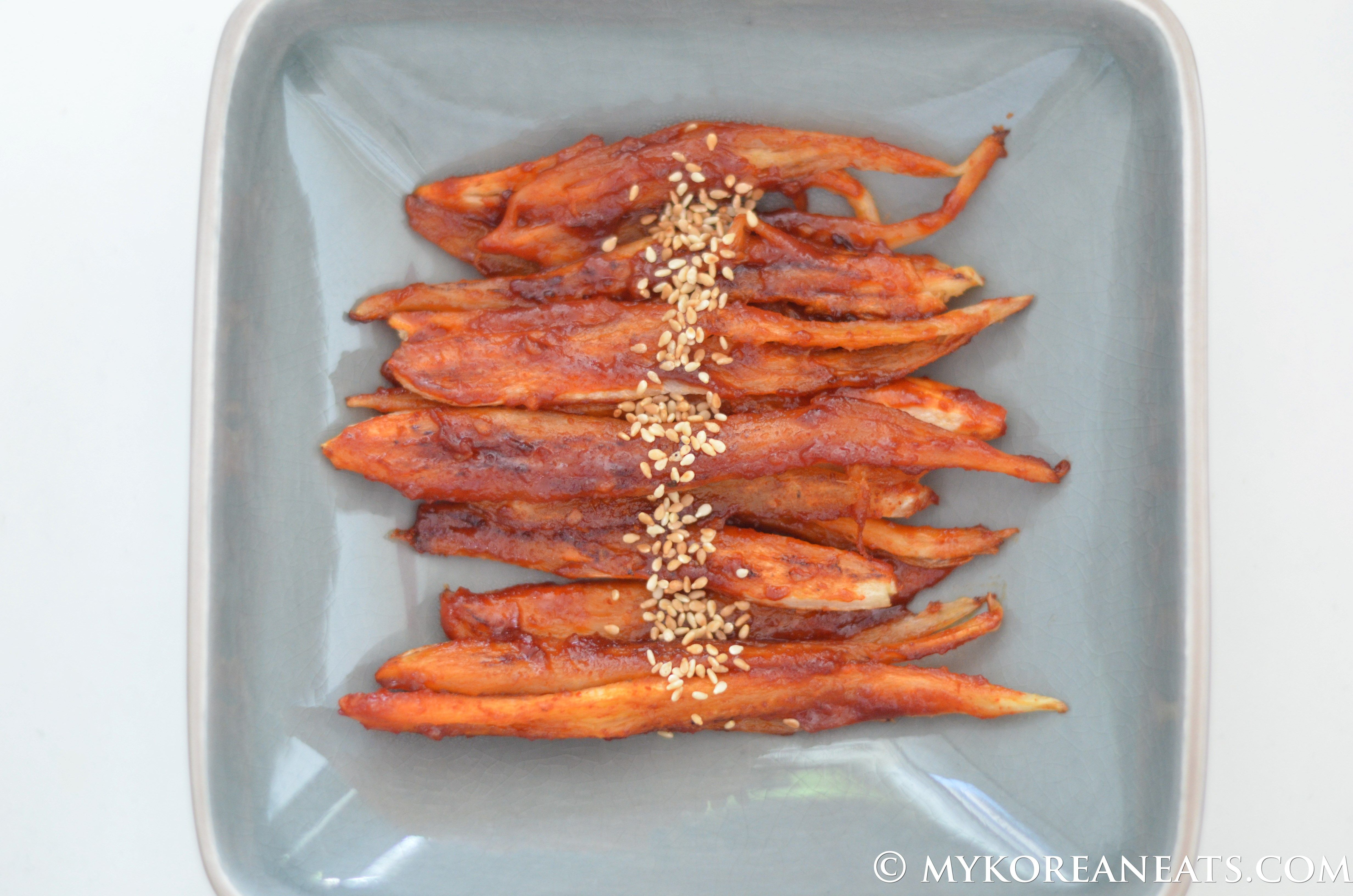 Duduk Gui 더덕구이 (Pan Fried Bonnet Bellflower Root)
