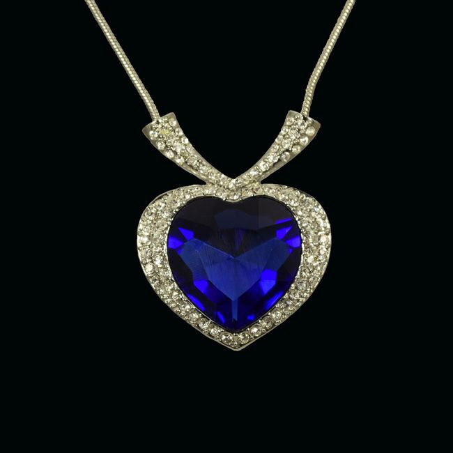NEW Heart of the Ocean Titanic Necklaces Blue Crystal Sapphire white Gold Plated