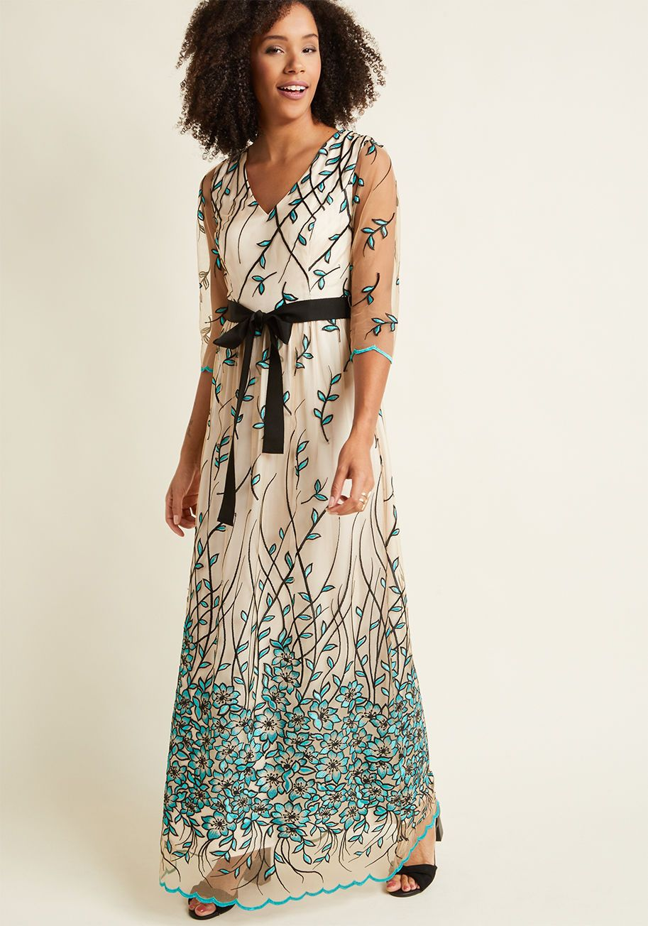 Floral Vine Embroidered Maxi Dress   ModCloth Gorgeous dress, even if very  expensive! 5ac70a5eec