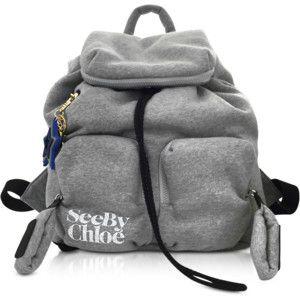 See by Chloe Designer Handbags Joy Rider Gray Viscose Backpack