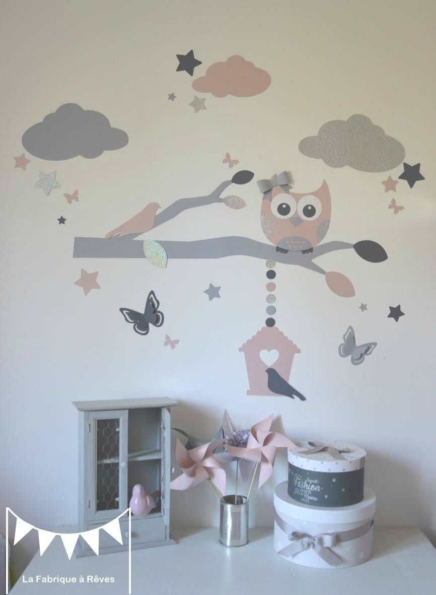 stickers d coration chambre enfant fille b b branche cage oiseau hibou chouette oiseaux. Black Bedroom Furniture Sets. Home Design Ideas