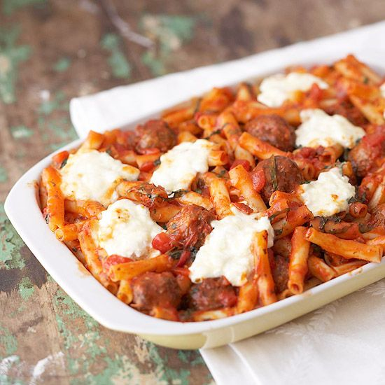 Cheesy Italian Meatball Casserole -16  ounces dried ziti or penne pasta, 1  26 ounce jar tomato pasta sauce, 1  16 ounce package Italian-style frozen cooked meatballs (32), thawed, 1  15 ounce can Italian-style tomato sauce, 1 -15 ounce carton ricotta cheese, 1/2 cup grated Parmesan cheese, 2 cups shredded mozzarella cheese (8 ounces)