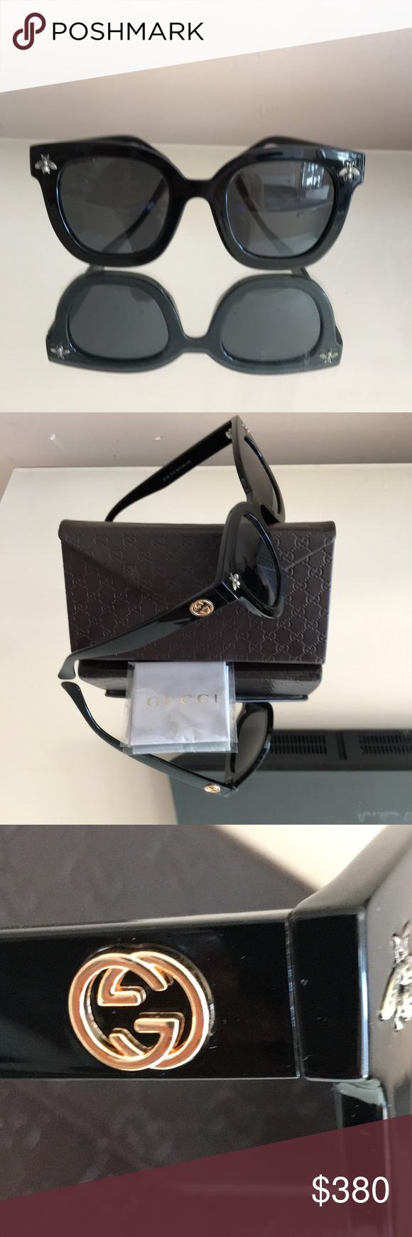 f1cbda771ae Gucci sunglasses case new black bee AUTHENTIC new collection Gucci black  plastic sunglasses