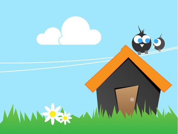 Groovy Xoo Plate Cartoon House Birds Summer Vector Scene Sweet Home Remodeling Inspirations Basidirectenergyitoicom