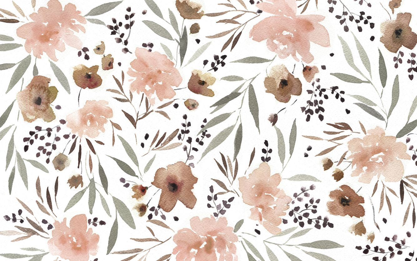 Blush Pink Taupe Watercolour Floral Botanical Desktop Backgr Floral Wallpaper Desktop Computer Wallpaper Desktop Wallpapers Laptop Wallpaper Desktop Wallpapers