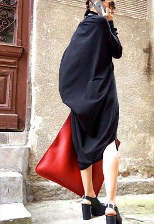 High Quality Tote  Large Bag/ Leather Red B14176