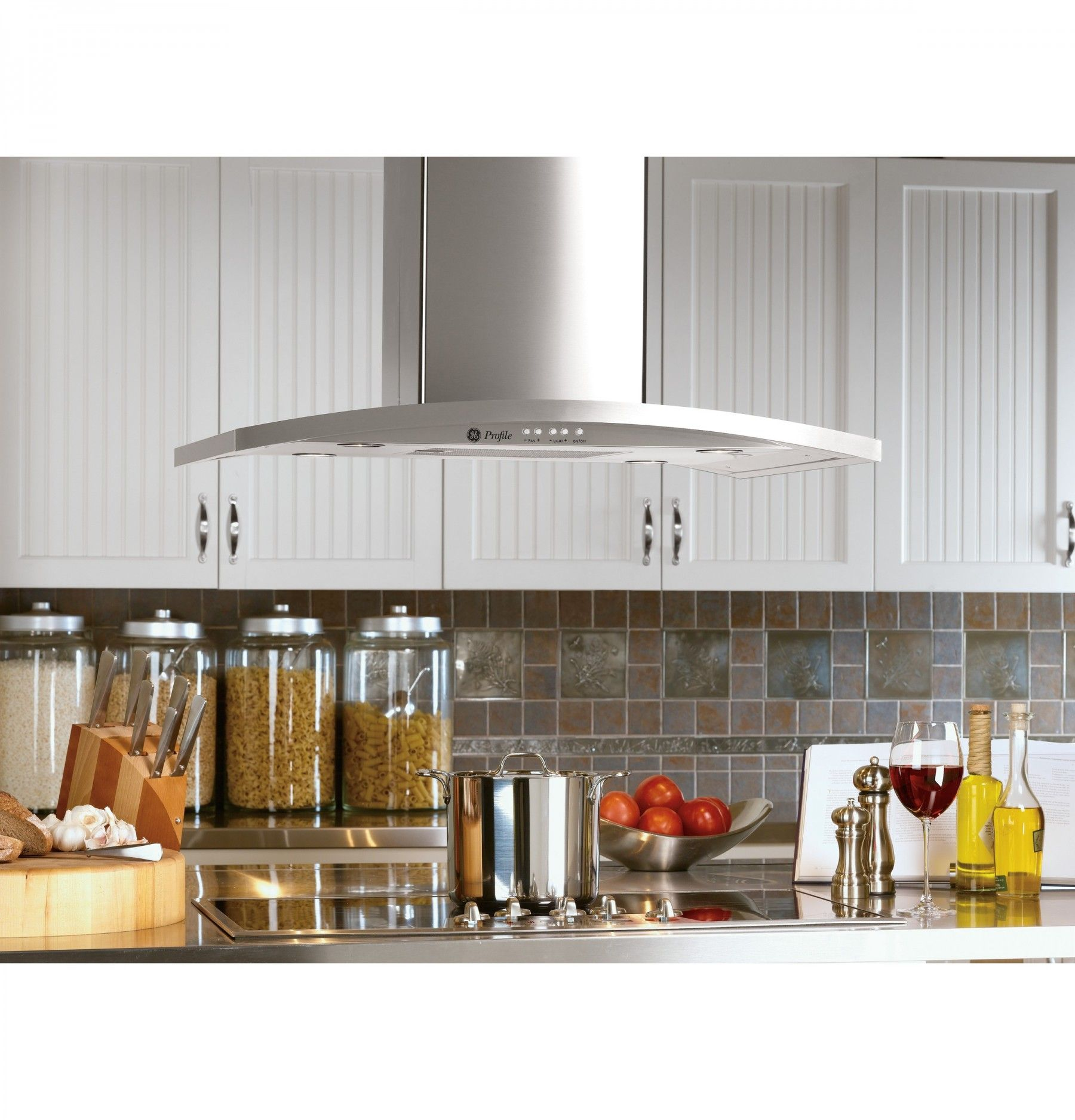 Ge Profile 36 Stainless Steel Chimney Style Island Mount Range Hood 450 Cfm Island Range Hood Range Hood Stainless Range Hood