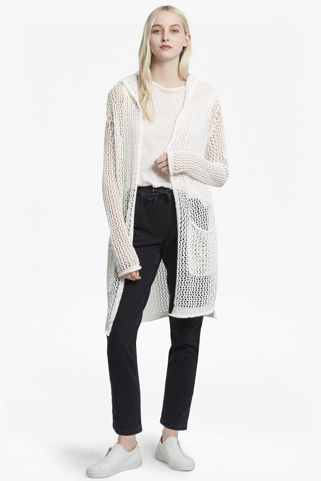 Open-weave cotton-blend longline cardigan with hood UK Summer ...