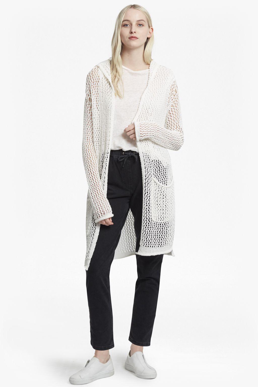 87513350efc  ul   li  Open-weave cotton-blend longline cardigan with hood  li   li   Long sleeves with roll-up cuffs  li   li  Lower-front patch pockets  li    li  Open ...