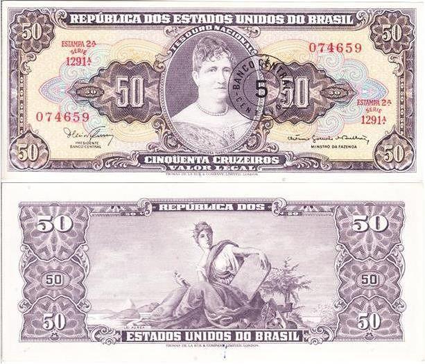 Nota Brasileira De 50 Cruzeiros Coleccao De Notas Da America Do