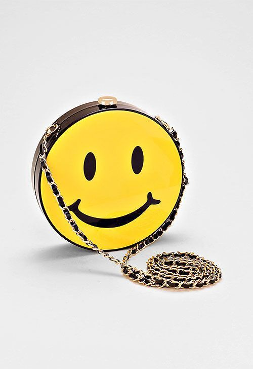 Smiley Face Emoji Crossbody Bag Box Purse With Chain