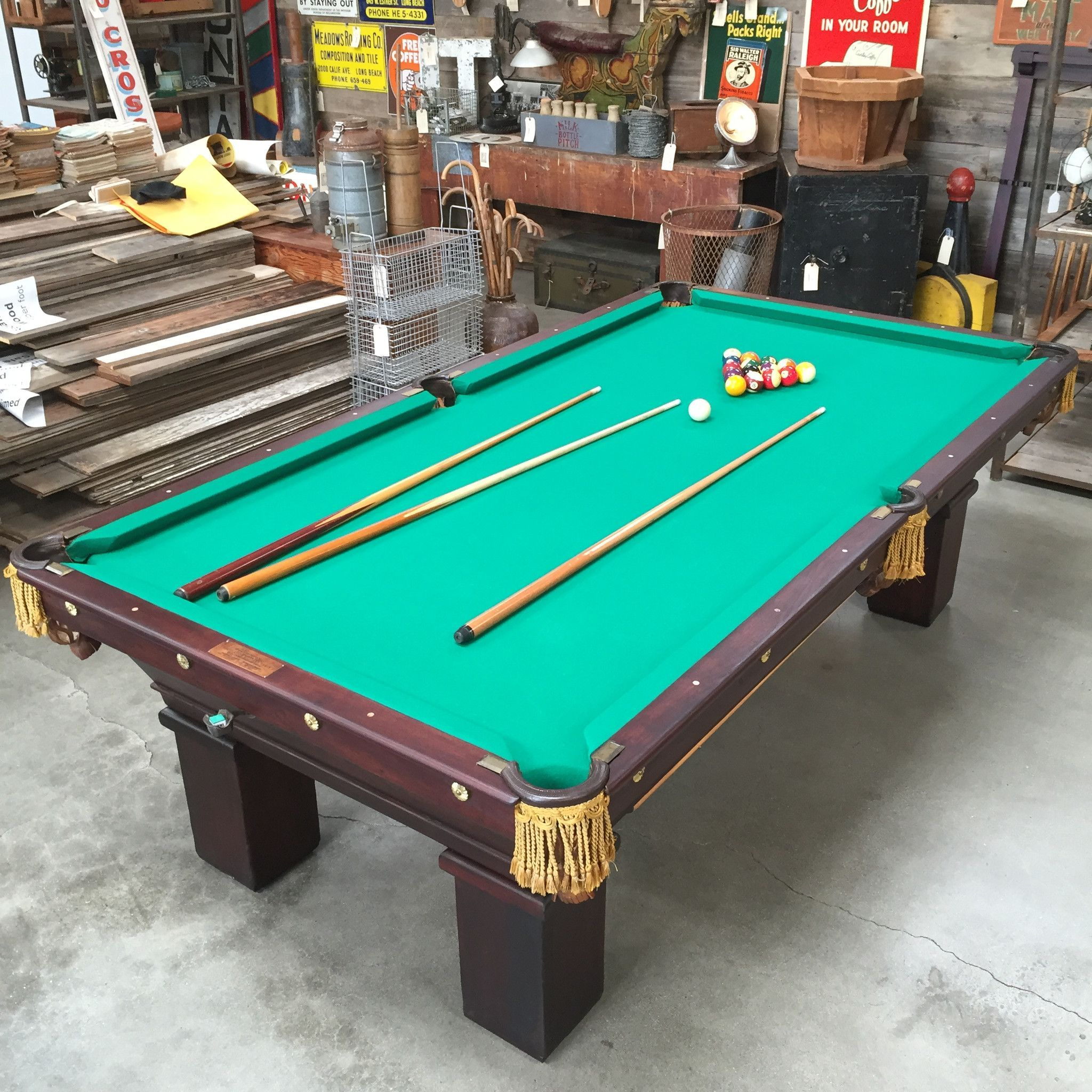 Antique brunswick mikado regulation pool table at the for Brunswick pool tables