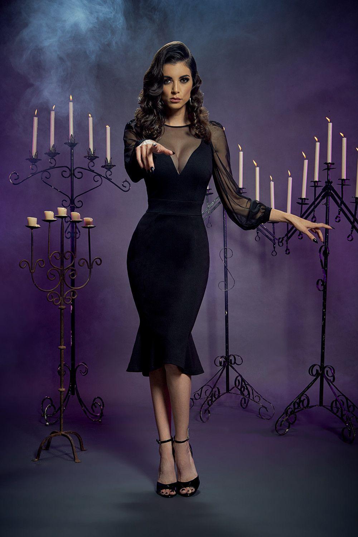 Mila Dress in Black Ponte by Elvira Mistress of the Dark