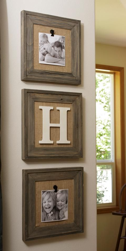 burlap in frames... with clip to make changing pics easy. LOVE