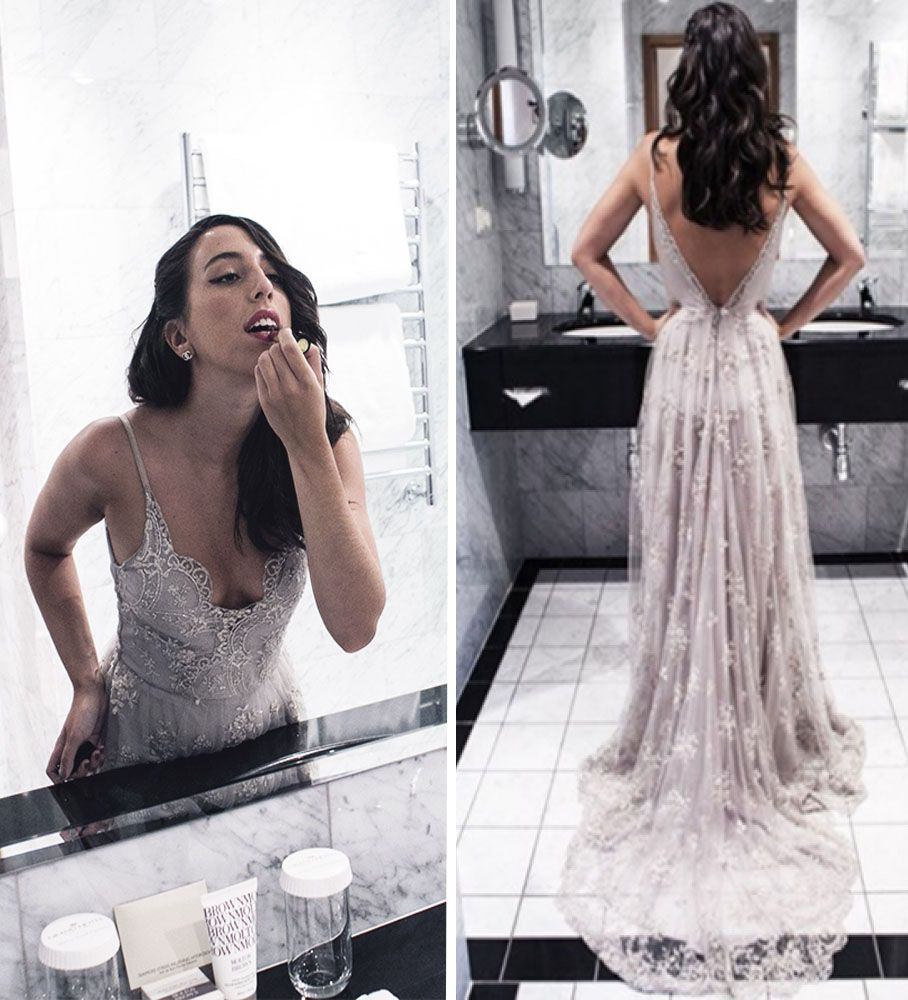 266813b5f82 Sexy Grey V-neck Long Lace Backless Prom Dresses