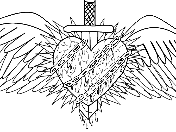 emo heart coloring pages | Emo Heart Drawings | Emo Heart Picture by Aroselia | Emo ...