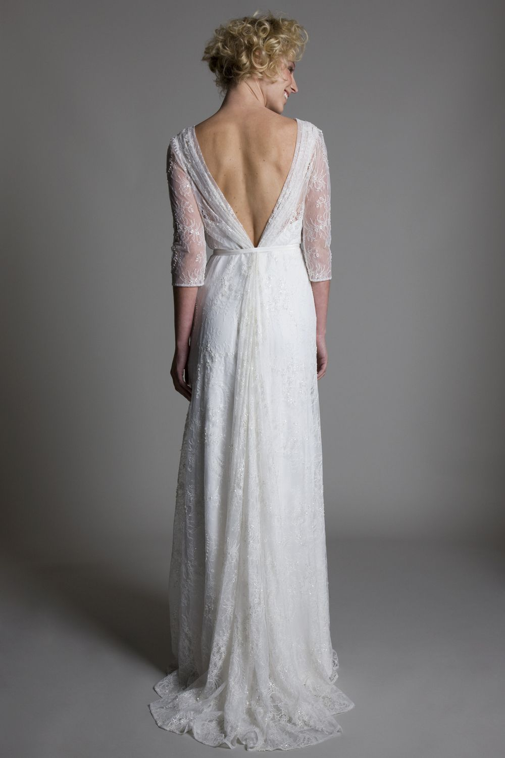 Back view of the josephine wrap front full lace wedding dress with a