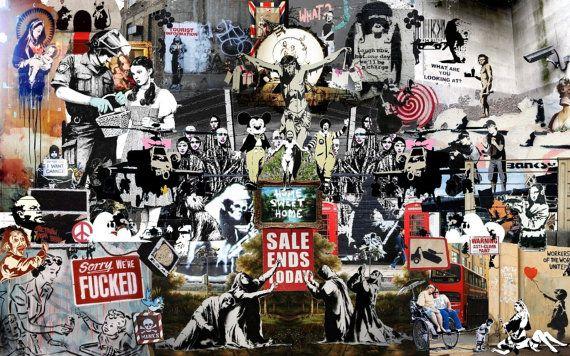 Banksy Street art Collage Graffiti  24 x 24 Canvas Print  Brainwash Multi Artist