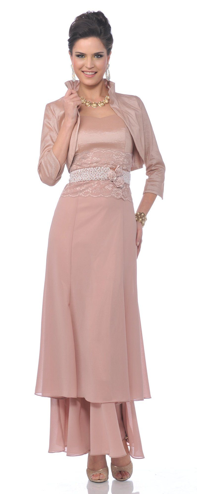 Modest Dusty Rose Mother of Bride Dress Lace Waist Includes Jacket ...
