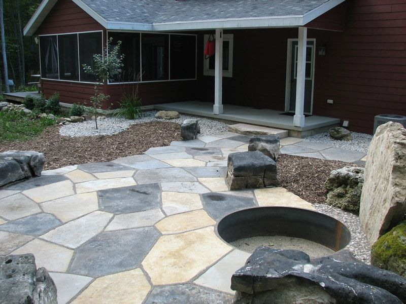 Flagstone Patio With Fire Pit And Stone Seats, Egg Harbor, Wisconsin
