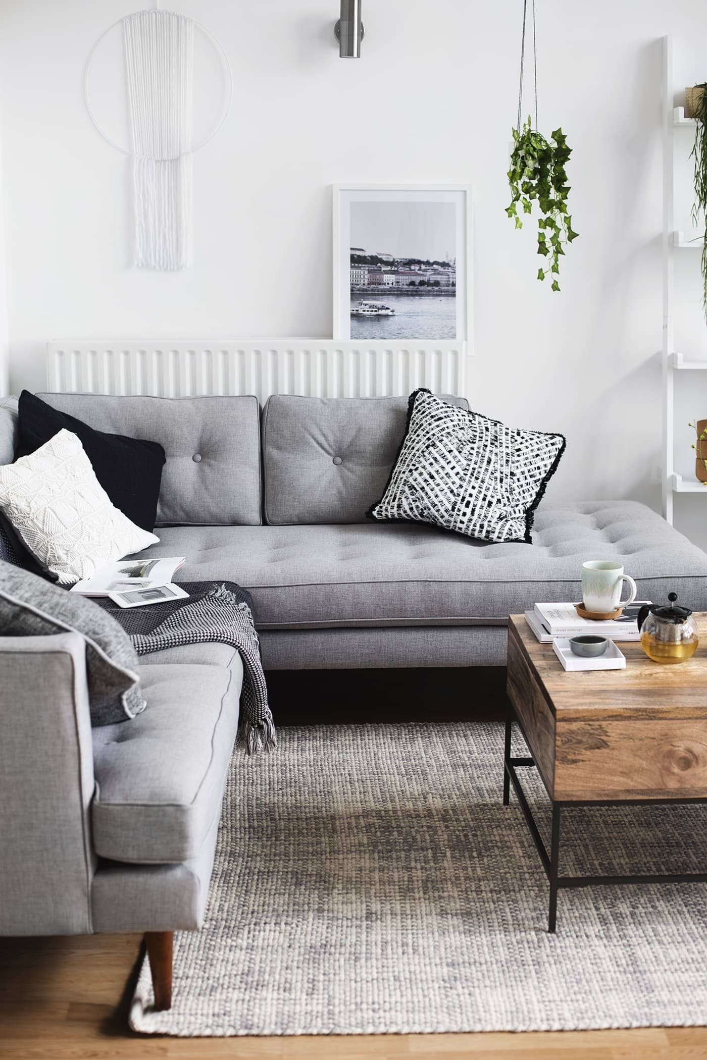Our Living Room Tour The Lovely Drawer Couches Living Room Living Room Grey Living Room Scandinavian
