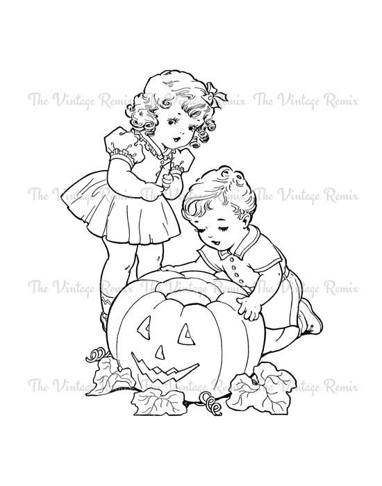 Coloring Page Halloween Coloring Pages Vintage Halloween Digital Stamps