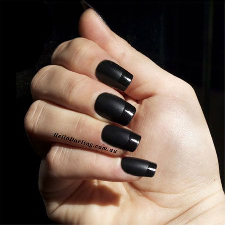 Simple Black Nail Art Designs 2014 - use Jamberry nail lacquer with matte  topcoat and then add same color for shiny french tip? - Pin By Natasha Chernyavsky On красота Pinterest Black Nail Art
