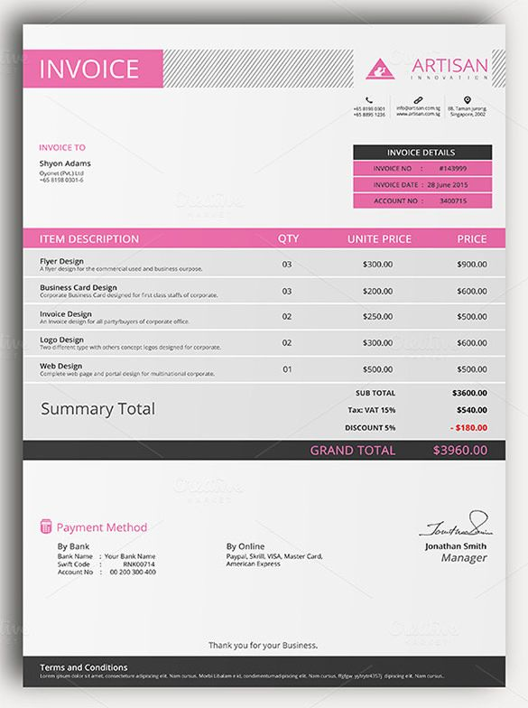 Sample Of Invoice Template Sample  Invoice Template For Mac