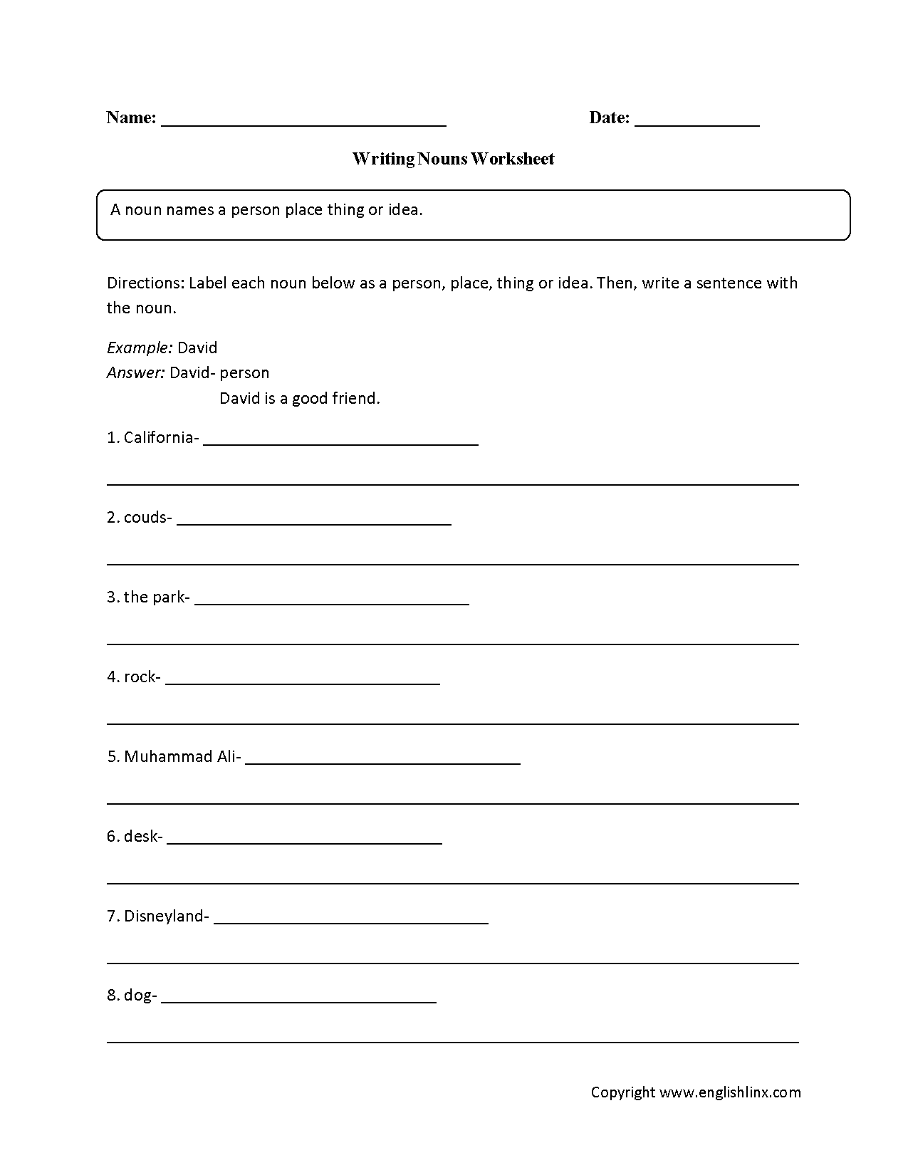 Writing With Nouns Worksheet