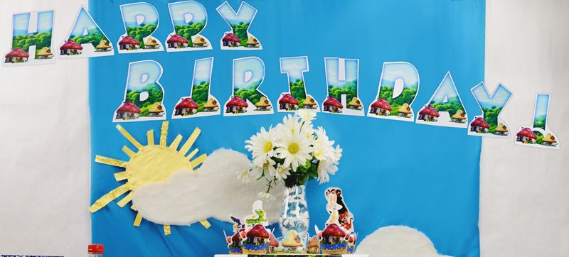Free Smurfs Happy Birthday Banner The Lost Village Printable Party Decorations