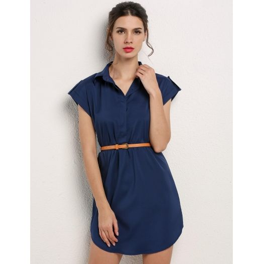 2dbfed15583 Navy blue Cap Sleeve Stretch Chiffon Shirt Dress With Casual Belt in ...