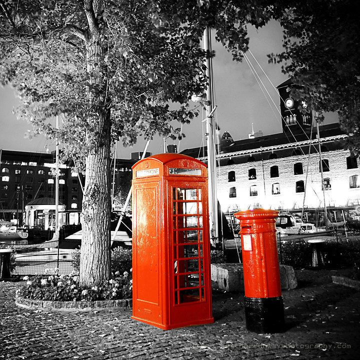 Black and White with a London Red Phone Box and Red Letter