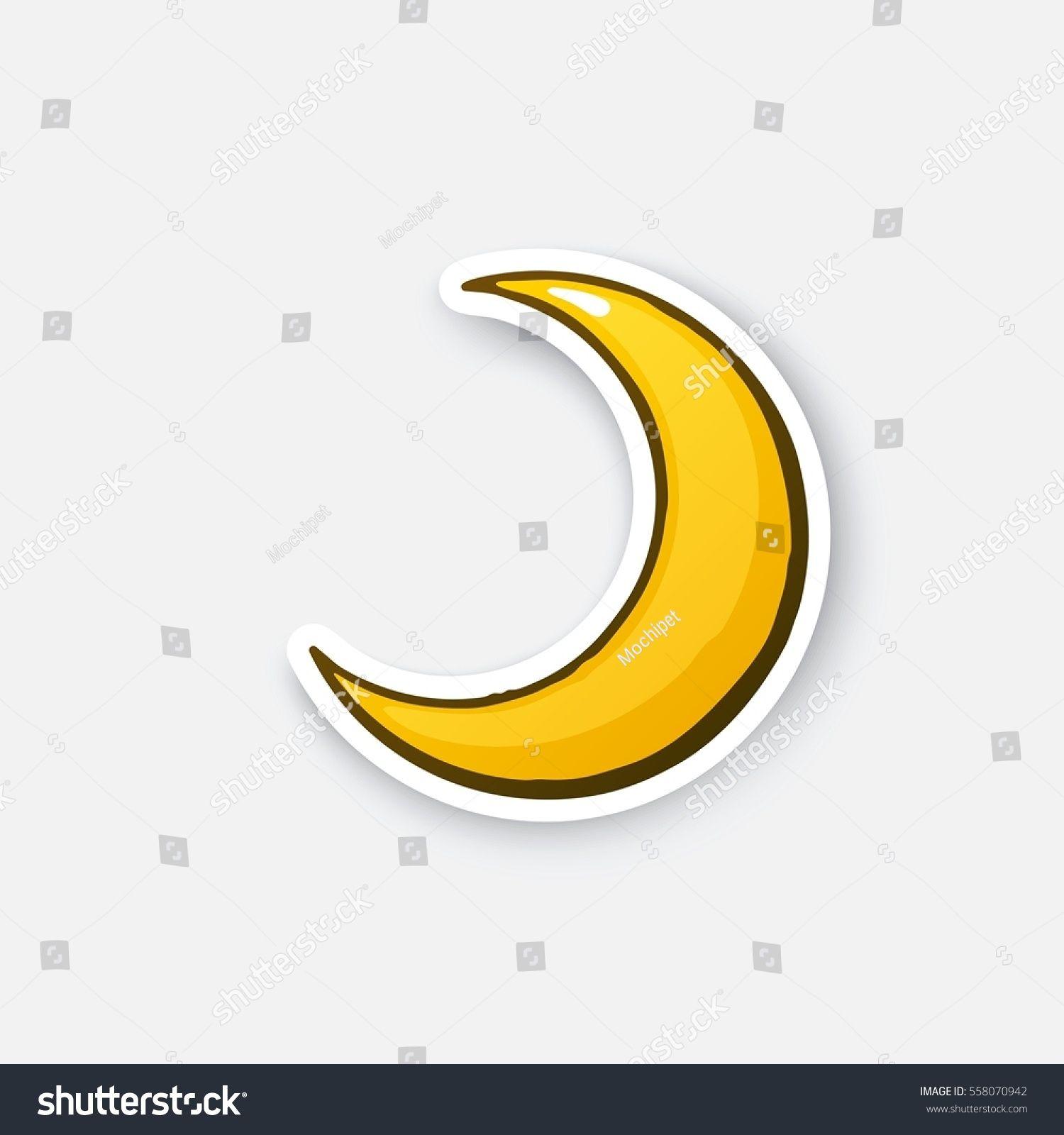 Vector Illustration Golden Crescent Cartoon Half Moon Sticker In Comic Style With Contour Decoration For Greeting C Vector Illustration Illustration Vector