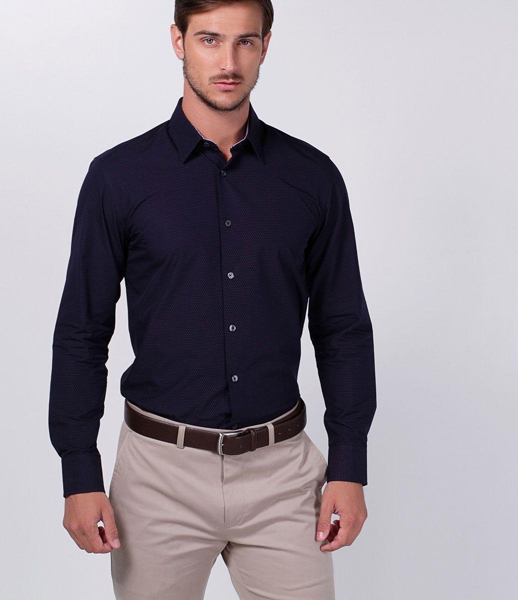54b8147bac Camisa masculina Manga longa Slim Poá Marca  Preston Field Tecido  algodão  Composição  100