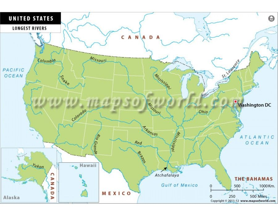 Buy Us Longest Rivers Map Us Maps Map Us Map Antique Maps