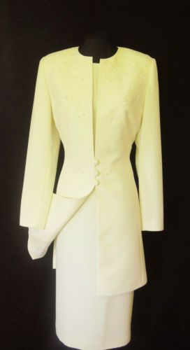 New Condici Cream Dress Jacket Coat Suit With Embroidery Pearl Decoration Size 12 Wedding Outfits Women Las