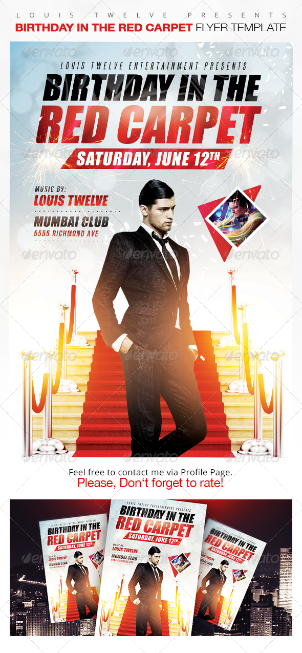 Birthday In The Red Carpet Flyer Template  Flyer Template
