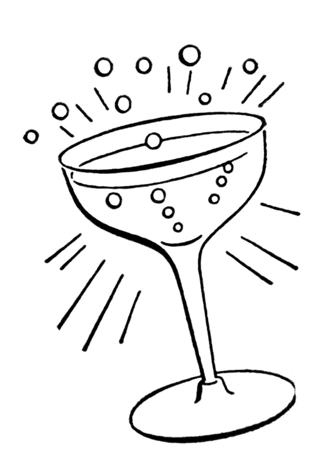 Line Drawing Graphics : Retro line drawings cocktail glass